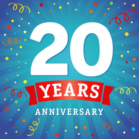 20 years anniversary logo celebration card. 20th years anniversary vector background with red ribbon and colored confetti on blue flash radial lines Illustration
