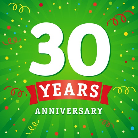 30 years anniversary logo celebration card. 30th anniversary anniversary vector background with red ribbon and colored confetti on green flash radial lines
