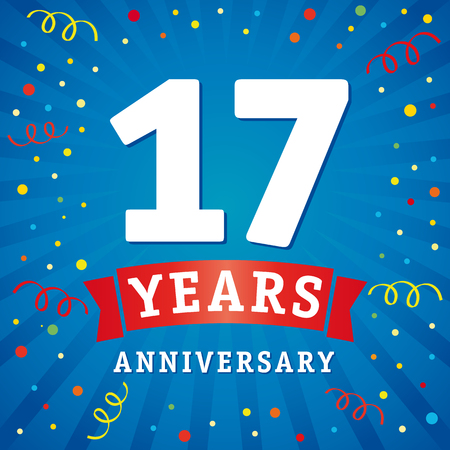 17 years anniversary logo celebration card. 17th years anniversary vector background with red ribbon and colored confetti on blue flash radial lines
