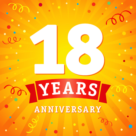 18 years anniversary logo celebration card. 18th years anniversary vector background with red ribbon and colored confetti on yellow flash radial lines