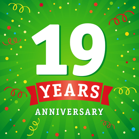 19 years anniversary logo celebration card. 19th years anniversary vector background with red ribbon and colored confetti on green flash radial lines Illustration