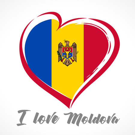 Love Moldova emblem colored. Independence day of Estonia vector background red heart on national flag and text I love Moldova Illustration