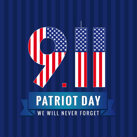 9.11 Partiot day USA card. Patriot day USA, We will never forget, September 11 vector poster Vettoriali