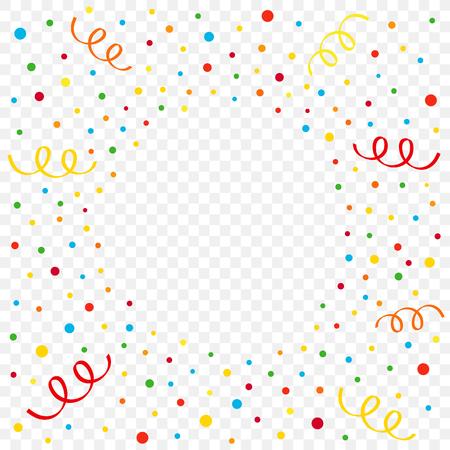 다채로운 색종이와 투명 한 배경에 리본입니다. 생일, 새 해 또는 크리스마스 벡터 일러스트 레이 션 색종이 및 리본 방사형 플래시 일러스트