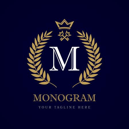 Lujo letra caligráfica M corona y logotipo monograma clave. Laurel hermosa corona con llave y clave. Vector letra emblema M de realeza, restaurante, Boutique, Hotel, heráldica, joyería