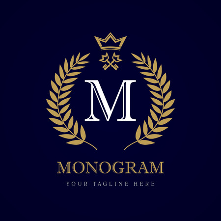 Luxury calligraphic letter M crown and key monogram logo. Laurel beautiful crown with key and key. Vector letter emblem M for Royalty, Restaurant, Boutique, Hotel, Heraldic, Jewelry