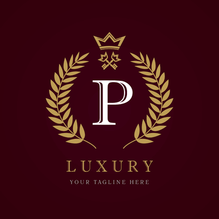 Luxury calligraphic letter. Laurel elegant beautiful with crown and key. Vector letter emblem P, Royalty, Property, Restaurant, Boutique, Hotel, Heraldic, Jewelry Ilustração