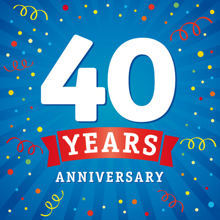 40 years anniversary logo celebration card. 40th years anniversary vector background with red ribbon and colored confetti on blue flash radial lines Illustration