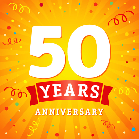 50 years anniversary logo celebration card. 50th anniversary anniversary vector background with red ribbon and colored confetti on yellow flash radial lines Illustration
