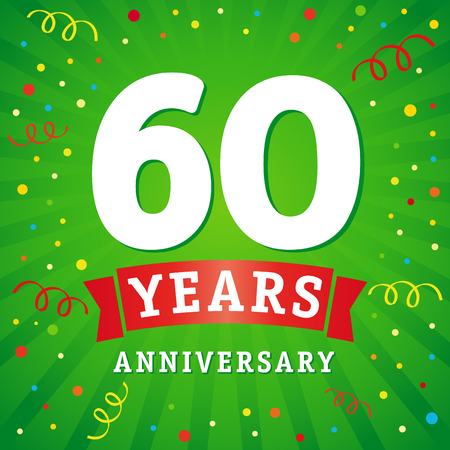 60 years anniversary logo celebration card. 60th anniversary anniversary vector background with red ribbon and colored confetti on green flash radial lines