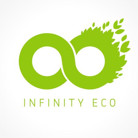 Logo de l'infini avec des feuilles. Graphiques verts. Entreprise environnementale. En forme de symbole