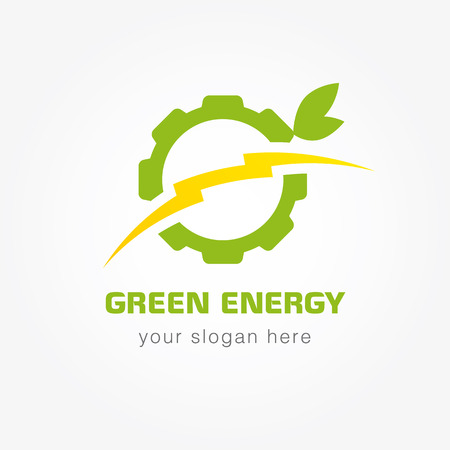 Green energy company logotype. Electrical or mehanic industrial branding concept. Lightning, gears, wheel, tree leaves. Electricity, bolt vector isolated sign concept. Eco brand manufacturing idea.
