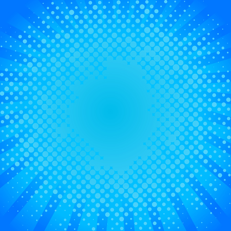Blue dots comic background. Pop art design blue radial rays background, vector illustration. Bright dynamic cartoon for promotional background, presentation poster