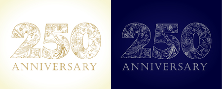 250 years old luxurious celebrating numbers. Template gold, silver colored happy anniversary decorating greetings, set of 25 52 2nd 5th 20th 50th 25th twenty, two traditional congratulating pattern.