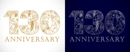 english letters: 130 years old luxurious celebrating numbers. Template gold, silver colored happy anniversary decorating greetings, set of 1st, 3rd place, one, three, 0 traditional congratulating pattern. Illustration