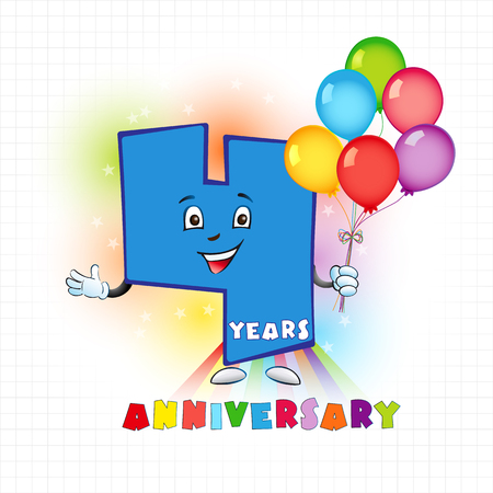 humorous: Four years old animated logotype. 4 anniversary funny logo. Kids birthday colored card with a personified digit, many bright celebrating congratulating balloons. Entertaining or kids greetings.