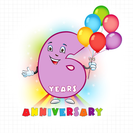 Six years old animated logotype. 6 anniversary funny logo. Kids birthday colored card with a personified digit, many bright celebrating congratulating balloons. Entertaining or kids greetings. Illustration