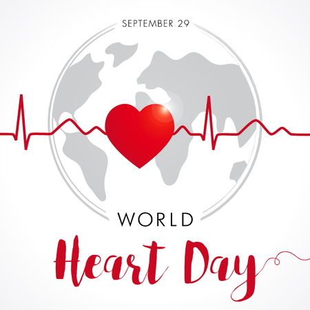 World Heart Day card, heart and cardio pulse trace on globe. Vector illustration background. September 29 Vettoriali