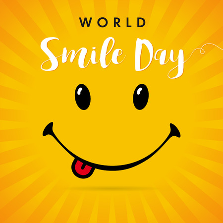 Weltlächeln-Tagesgelb-Streifenkarte. Lächeln mit Zunge und Schriftzug World Smile Day auf gelben Strahlen Hintergrund. Vektor-Illustration