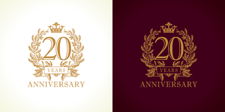 20 years old luxurious logotype. Congratulating. Isolated greetings celebrates. Celebrating traditional twenty in branches. 2nd, second place of win. Иллюстрация