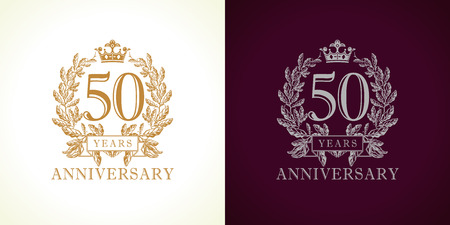 50 years old luxury logotype. Congratulating 50th numbers gold colored template framed in palms. Isolated greetings celebrates. Celebrating traditional fifty in branches. Five, 5th place of win. Vectores