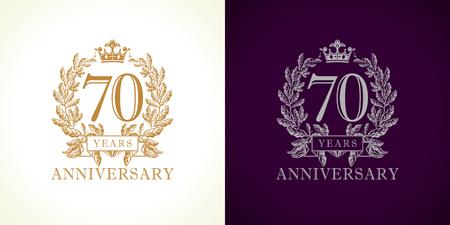 70 세 럭셔리 로고 타입. 축 하 70 번째 번호 골드 컬러 템플릿 손바닥에 액자. 격리 된 인사말을 맞는다. 가지에서 전통적인 70 년대를 축하합니다. 일곱  일러스트