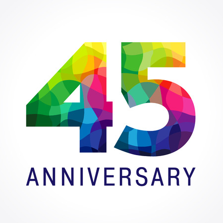 Colorful 45th anniversary icon.