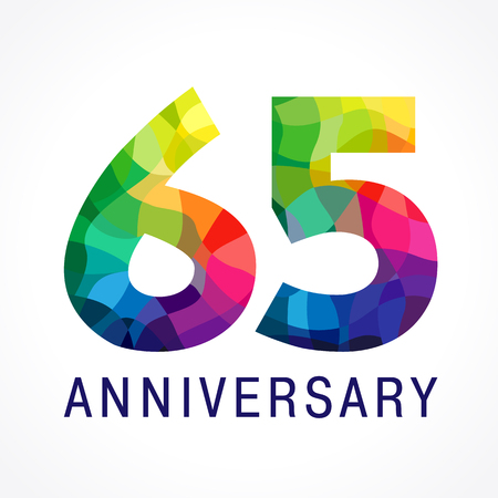 Colorful 65th anniversary icon. Illustration