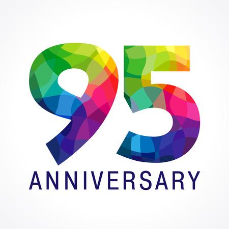 Colorful 95th anniversary icon. Vector Illustration