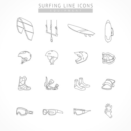 Set equipment of kite surfing sport line icons. Icons of equipment for surfing - kite, board, bag, helmet kite, snowboard, bike, bindings, shoes, trapezoid, strap, sports glasses, ski goggles, gloves