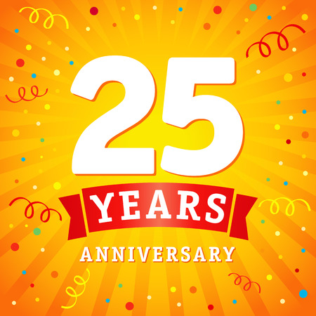 25 years anniversary logo celebration card. 25th years anniversary vector background with red ribbon and colored confetti on yellow flash radial lines