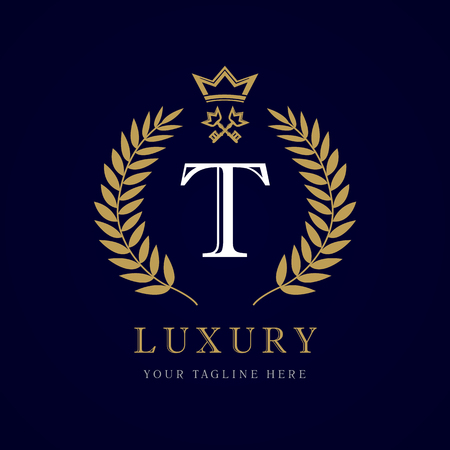 Luxury calligraphic letter. Laurel elegant beautiful with crown and key. Vector letter emblem T for Royalty, Property, Restaurant, Boutique, Hotel, Heraldic, Jewelry Ilustração