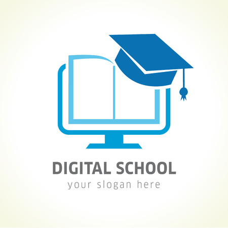 Digital school book online education logo. Digital school book online education logo. Digital open book with pages in monitor emblem and graduation hat. E-book or e-reader soft icon. On-line education blue vector sign Vettoriali