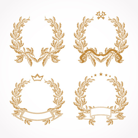 Vector gold laurel branches. Palms, keys and golden ribbons collection. Luxurious isolated abstract logotype. Congratulating round template framed in palms. Celebrating traditional graduation circle 矢量图像