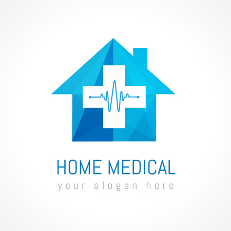 Home medical logotype. Stained-glass blue colored cross, house, cardio waves. Tests, chemical, pharmaceutical center scheme. Health care heartbeat shape elements. Isolated branding identity concept.