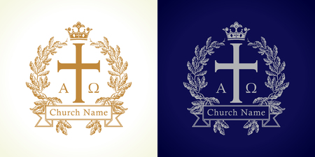 Church logotype. Luxurious traditional isolated crucifixion template in circle. Crucifix framed in palms. Old vector round branches, ribbon sign with Greek ABC letters. God's Kingdom spiritual symbol.  イラスト・ベクター素材