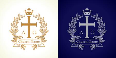 Logotipo de la iglesia Lujosa plantilla de crucifixión aislada tradicional en círculo. Crucifijo enmarcado en palmas. Vector viejo redondo ramas, signo de cinta con letras griegas de ABC. Símbolo espiritual del Reino de Dios