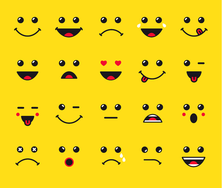 celebration smiley: Set of emoticons or emoji. Smile icons line art isolated vector illustration on yellow background. Concept for World Smile Day
