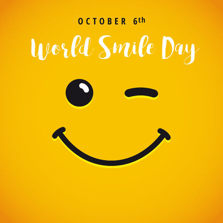 World Smile Day october 6th banner. Winking smiley and lettering World Smile Day on yellow background. Vector illustration