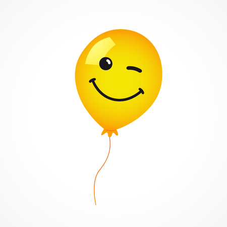 Winking smile of yellow helium balloon on white background. Yellow smile emoji balloon for happy birthday card or banner. Stock Illustratie