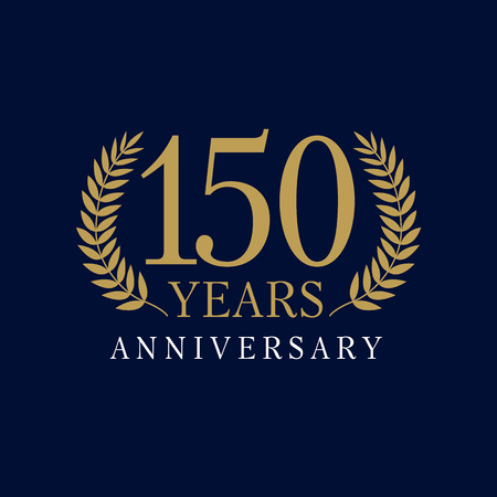 150 years old luxury logotype. Congratulating 50th 10th 15th 5th 1st 51 numbers template framed palms. Isolated greetings celebrating. Logó