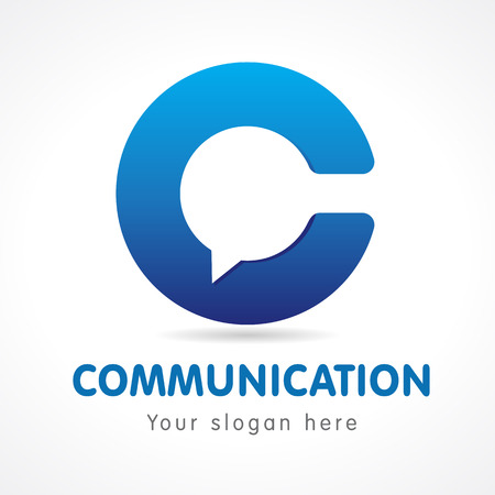 C letter contact design. Business or educational consultant, blue colored volume sign.