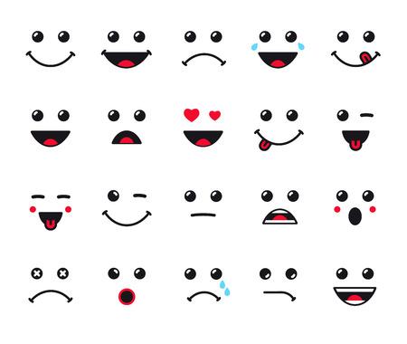 漫画顔式ラインのアイコンを設定します。顔文字や絵文字のセットです。笑顔アイコン ベクトル アート イラスト  イラスト・ベクター素材