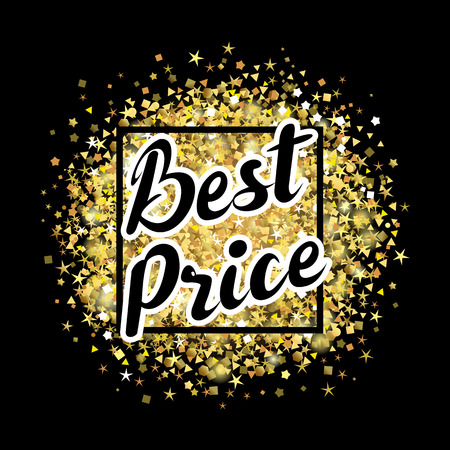 Best price lettering on the golden dust background. Best price text on golden glitter, vector illustration for sale advertising banner or discount tag
