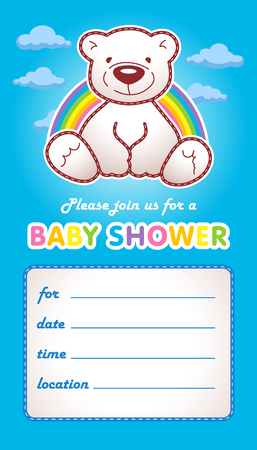 baby toy: Baby shower invitation card template. Vector illustration. Family colored greetings for boy birth.