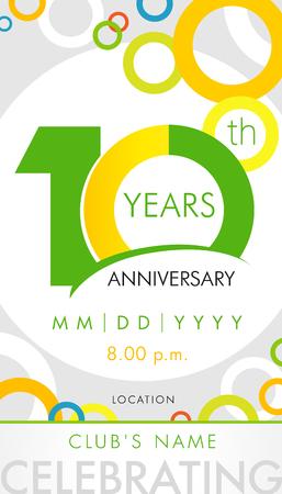 10 años de tarjeta de invitación de aniversario, concepto de plantilla de celebración. 10 años de aniversario elementos de diseño moderno con el círculo de fondo de color. Ilustración vectorial Foto de archivo - 87723970