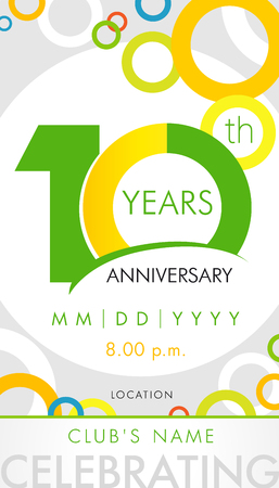 10 years anniversary invitation card, celebration template concept. 10th years anniversary modern design elements with background colored circle. Vector illustration