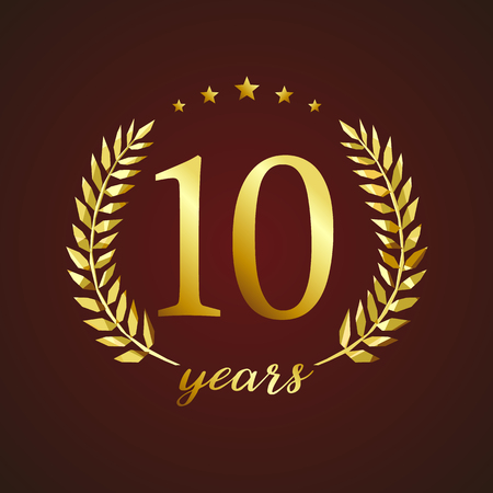 l first: 10 years old luxury logotype. Congratulating 10th.
