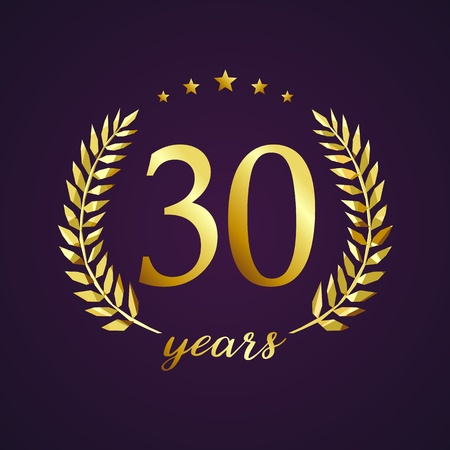 third birthday: 30 years old luxury logotype. Congratulating 30th, 3rd numbers in circle of palms, cup template. Isolated sign greetings symbol, celebrating traditional stained-glass decorative retro style ear.