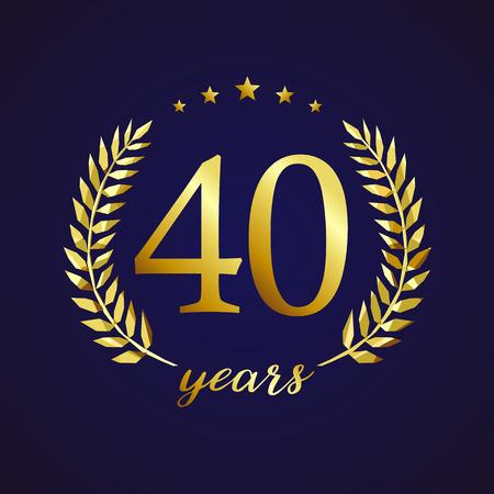 40 jaar oud luxe logo. Felicitaties 40e, 4e nummers in cirkel van palmen, beker sjabloon. Het geïsoleerde symbool van tekengroeten, die het traditionele oor van de gebrandschilderd glas decoratieve retro stijl vieren. Logo